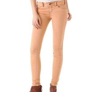 Free People Womens Millennium Peach Skinny Jeans